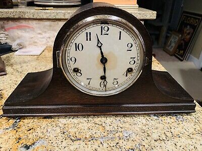 Old English Wood Mantel Westminster Chime Clock Antique VTG - Working