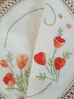 Hand Embroidered Variegated Tangerine Poppies Vintage Doily Hand Crocheted Edge