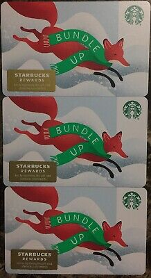"""Lot 3 Starbucks """"BUNDLE UP"""" Christmas 2019 Recycled Paper Gift Card set"""