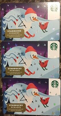 """Lot 3 Starbucks """"SNOWMAN & RED BIRD"""" Christmas 2019 Recycled Paper Gift Card set"""