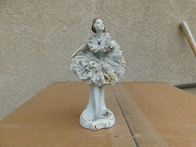 Antique PM&M Dresden Lace Skirt Lady Porcelain Figurine Germany Marked