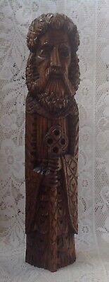 19th Century Hand Carved Wood Figure Of A Monk With A Key, German Black Forest?