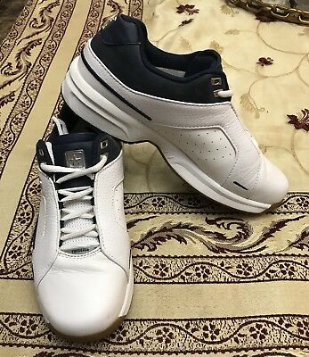 Converse Men's Size 7 US Leather All Star Vintage Track Shoes Sneakers White Blu