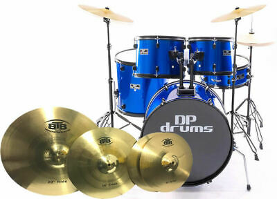 5 Piece Full Size Drum Kit BTB20 4Pce Cymbal Upgrade Stool Blue DP Drums Starter