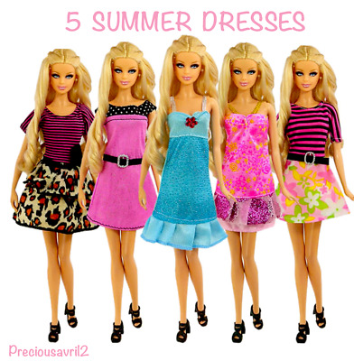 Brand new Barbie doll clothes 5 party summer dress clothes clothing.