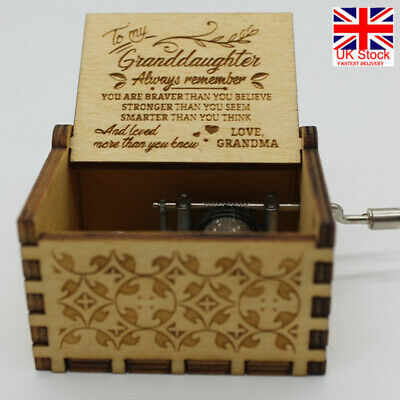 You Are My Sunshine-Wooden Engraved Music Box Gift for Mom/Dad Daughter/Son