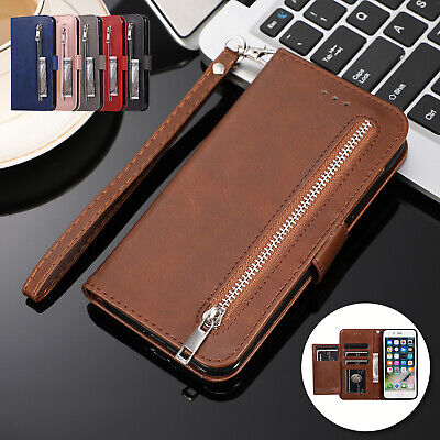 For iPhone 11 Pro Max 8 Plus 7 6 XS XR Case Magnetic Leather Wallet Zipper Cover