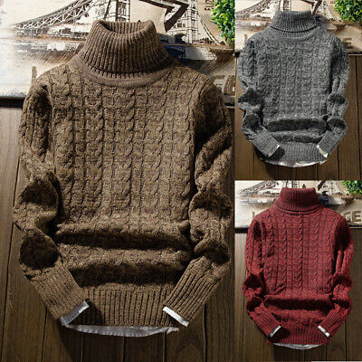 Mens Winter Warm Knitted Turtle Neck Pullover Jumper Tops Slim Fit Sweater 2019