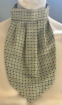 Mens Vintage TOOTAL CRAVAT Yellow & Multi Colour Tile Print PreTied Cravat Ascot