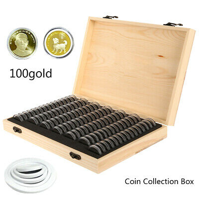 UK Wooden Coins Display Storage Box Case for Collectible Coin 100 Capsules FT