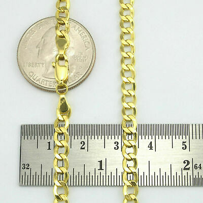"10K Yellow Gold Solid Cuban Curb Bracelet Chain 4.7mm 8""  8 Inch Mens or Ladies"