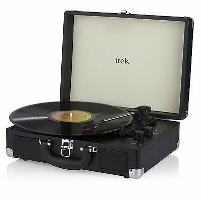 iTek Briefcase Style 3 Speed Portable Bluetooth and Vinyl Turntable