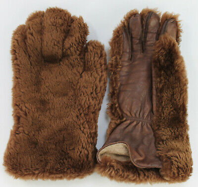 Vintage 60s/70s Faux Fur Womens Gloves. Brown. Small. Fleece Lined.Leather palms
