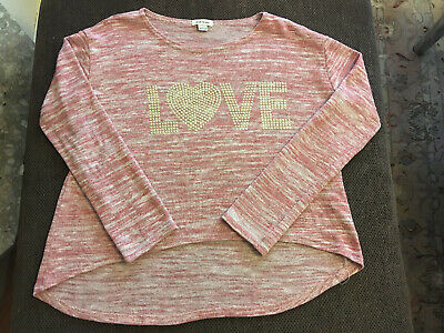 River Island Girls Red/Pink/Ivory Polyester/Viscose/Elastane Jumper Age11/12 YRS