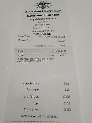 RECEIPT ONLY FOR AUSTRALIA ASIO SPIES & SPOOKS 2019 50c cent COIN RAM
