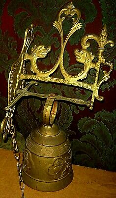 "Vintage Latin Brass Dragon Door Bell Hanging 16"" Vocem Meam Audit Qui Me Tangit"