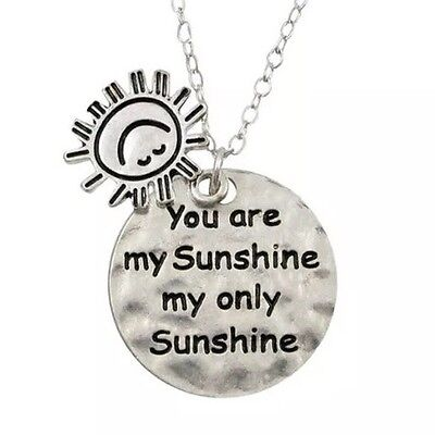 You Are My Sunshine' Sun Charm Necklace Engraved Womans Ladies In Gift Bag