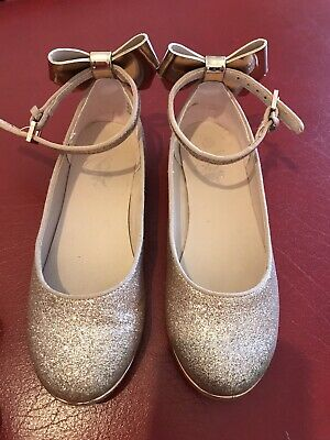 Girls Ted Baker Rose Gold Glitter Party Shoes Size 13