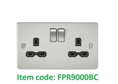 Volex 13A Double Switched Socket 2 Gang Wall Socket in Brushed Chrome w//Black