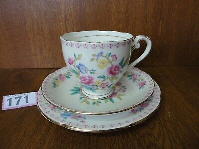Vintage Royal Grafton Trio - Tea Cup & Saucer / Side Plate - Pink Roses / Floral