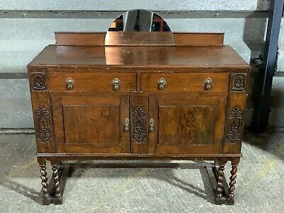 Antique vintage carved oak mirror back sideboard with double barley twist legs