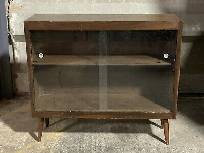 Mid century vintage Linden glazed oak bookcase display cabinet on tapered legs
