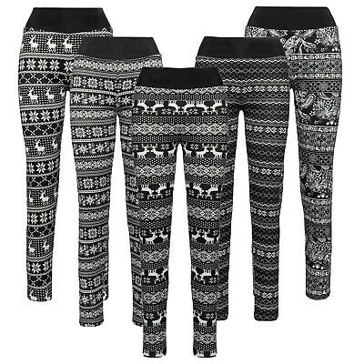 Damen Winter Thermo-Leggings warm gefüttert sexy Fell Weihnachten 36 38 40 42 44