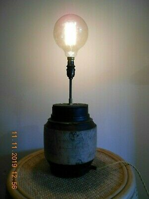 An Antique French Character Wooden Cartwheel Hub, Converted To An Electric Lamp