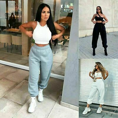 LADIES Fleece Casual Oversized Jogging Joggers Cuffed Tracksuit Bottoms 8-14