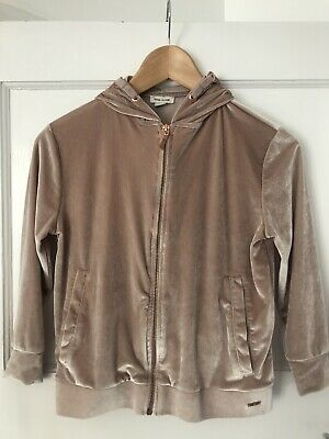 GIRLS VELOUR  ZIP UP HOODIE FROM RIVER ISLAND Age 7 - 8 Dusky Pink & Rose Gold