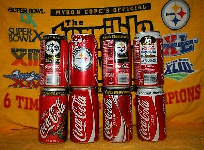 FOUR DIFFERENT PGH STEELERS COCA COLA COKE 12 oz CANS UNPOPENED