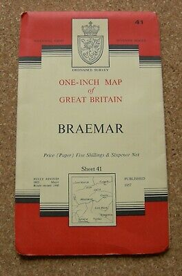 Ordnance Survey Map - Braemar Sheet 41 Reprinted 1961. In Very Good Condition.