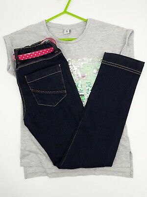 Girls Clothes 9-10 Years Outfit TU Grey Sequins Top F&F Belted Denim Trousers