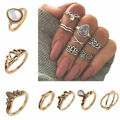 Antique Gold Silver Jewelry Carved Knuckle Ring Set Gemstone Hollow Flower