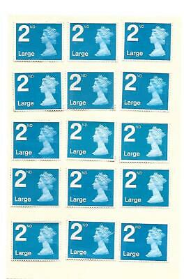50 x LARGE 2nd Second Class Stamps Unfranked ALL BLUE with Gum Easy Peel #