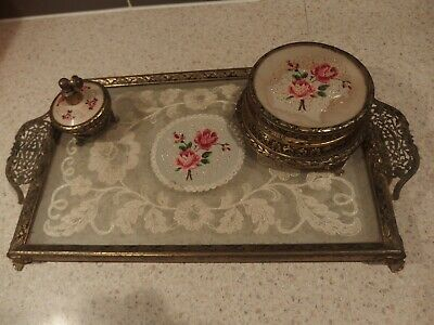 Vintage Petit Point Roses & Lace Brass Vanity Tray,Trinket Container & Perfume