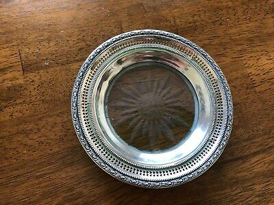 Frank Whiting Sterling Silver,Etched Crystal Wine Bottle Coaster-Talisman Rose