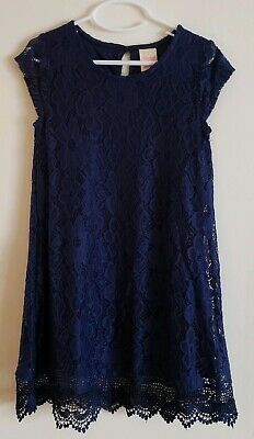 Girl's Faded Glory Blue Short Sleeve Lace Dress * Size S (6-6x)