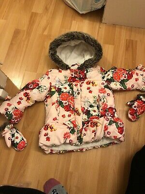 Girls Ted Baker 2-3 Years Winter Floral Coat With Mittens Ideal Playwear