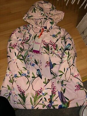 Brand New Ted Baker Girls Raincoat Swing Coat 5-6 Years Pink Floral Birds