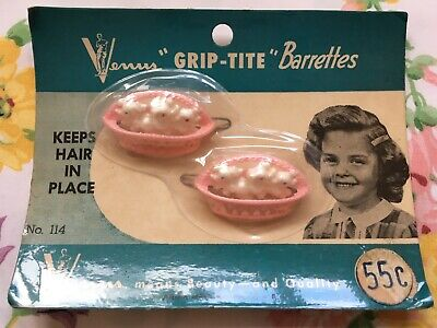 Two vintage children's cute novelty plastic hair clips, slides - dogs in basket