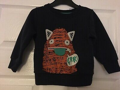Boys Monster Sweatshirt Navy Blue 12-18 Months