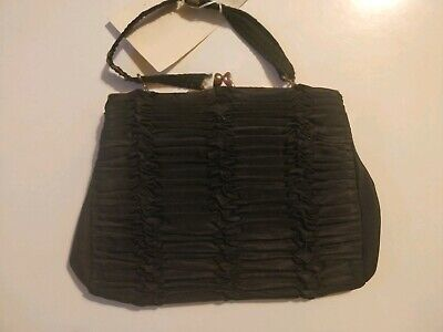 Vintage 1950s Small Black Evening Bag, Taffeta