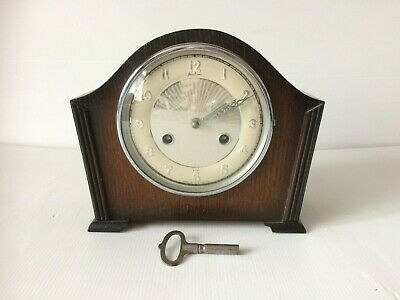 Vintage Bentima Perivale Art Deco Oak Mantel Clock