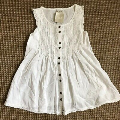 Girls White Blouse With Silver Detailed Panel, Age 8 Yrs. Next Brand.