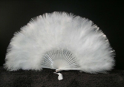 "MARABOU FEATHER FAN - WHITE Feathers 12"" x 20"" Burlesque/Wedding/Bridal/Show"