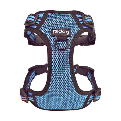 Reflective Small Dogs No Pull Harness Soft Blue Front Leading Mesh Walking Vest