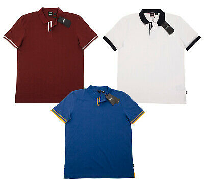Hugo Boss Parlay Men's Pima Cotton Jersey Polo Shirts Multisize Dark Red White