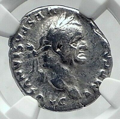 VESPASIAN Authentic Ancient 75AD ROME Silver Roman Coin PAX PEACE NGC i81349
