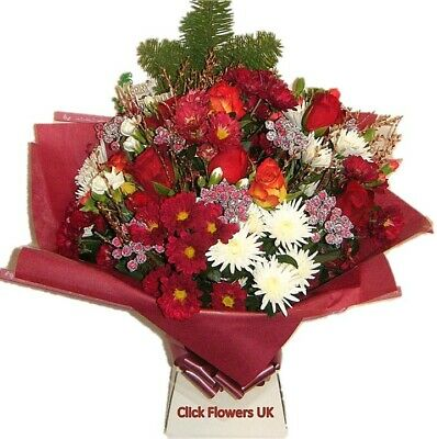 FRESH FLOWERS Delivered UK Christmas Traditional Free Flower Delivery